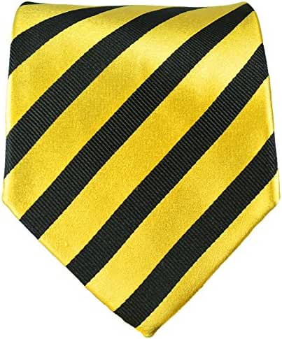 Paul Malone Striped Necktie 100% Silk Gold Black