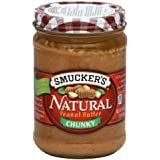 Smuckers Natural Peanut Butter 16 Oz (Pack of 4) (Chunky)