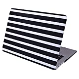 HDE Case for MacBook Air 13 Case Black and White Striped Designer Pattern Plastic Slim Hard Shell Snap On Case Fits Models A1369 / A1466 (Black and White Stripes)