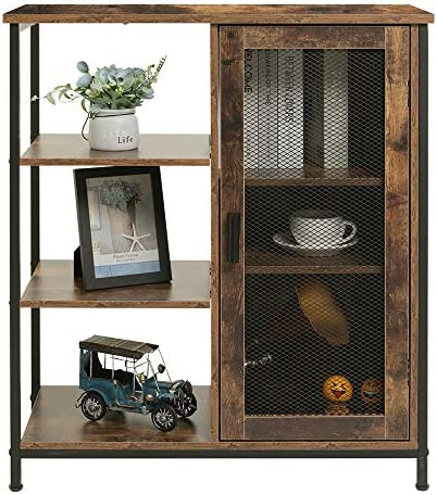 USIKEY Retro Storage Cabinet with 3 Open and Closed Shelves, Multipurpose Standing Cabinet with Iron Net and Wooden Handle, Free Standing Floor Cabinet for Living Room, Kitchen, Rustic Brown
