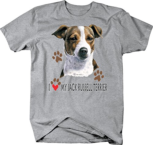 I Love My Jack Russell Terrier Dog with Paw Prints Custom Tshirt - 4XL ()