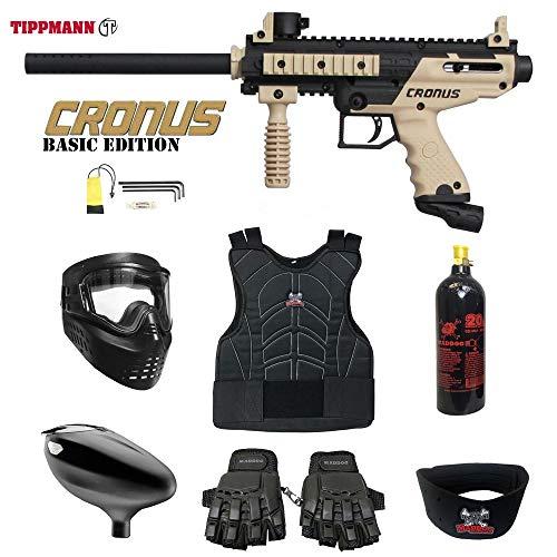 MAddog Tippmann Cronus Beginner Protective CO2 Paintball Gun Package - Black/Tan