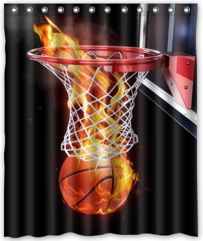 "Hot Sale Shop Custom Waterproof Polyester Bathroom Fabric Shower Curtain decor 60"" x 72""Flaming Basketball Print"