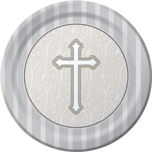 - 8-Count Round Dinner Plates, Silver Devotion Cross
