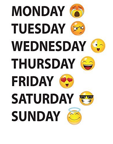 Days of The Week Emoji Faces Vinyl Wall Decal Sticker #6071s 22in X 17in (Black)