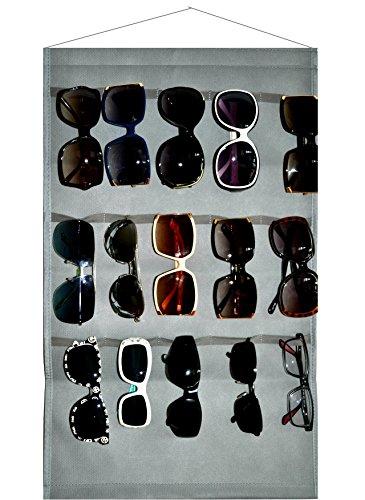 Ikiriska Sunglasses Grey Organizer, Storage, Holder, Display, Stand for 15 Glasses for Wall or Door