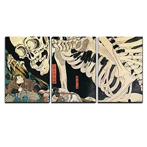 wall26 - 3 Piece Canvas Wall Art - Utagawa Kuniyoshi - Takiyasha The Witch and The Skeleton Spectre - Ukiyo-E - Modern Home Decor Stretched and Framed Ready to Hang - Skeleton Wall