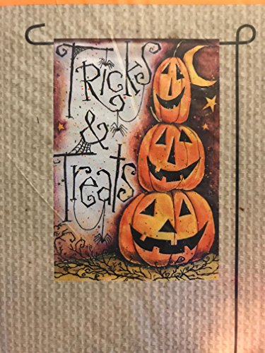 Tricks and Treats Pumpkin Jackolanterns Halloween Garden Flag