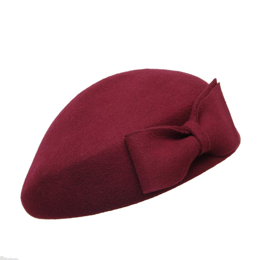 TozuoyouZ Beret Hat French Artist Beanie Cap Solid Color Bow-Knot Winter Hat for Women and Girls Casual Use