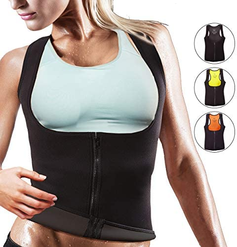 OMAX Women Waist Trainer Vest Sauna Shaper Sweat Neoprene Tank Top Slim Slimming Body Shaper Zipper Thermal Heat Trapping Compression Abdominal Workout Gym Suit Stomach Slimmer Trimmer Shirt For Woman
