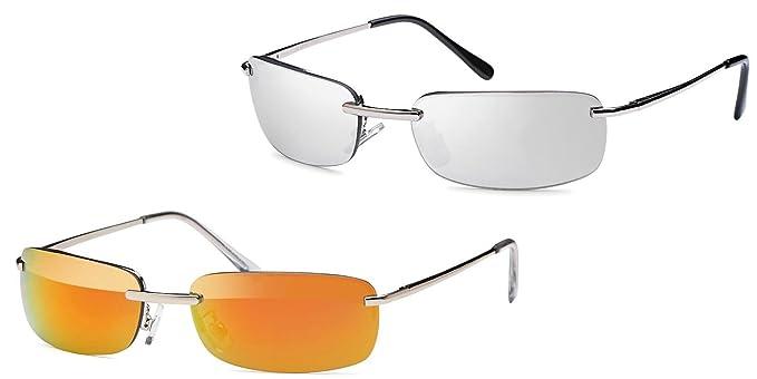 2x Sonnenbrille rechteckig Herren Gangster Sonne Sonnen Brille verspiegelt Gläser Federscharnier Strand Urlaub sb05 (silber/azurgrün) jgR7Vpfm