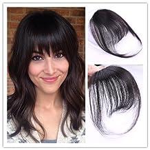 Moresoo Hair Bangs Clip on Human Hair Nature Black Hiar Bnangs with Hair Temples One Piece Clip in Hair Extnsions 100% Real Huamn Hair