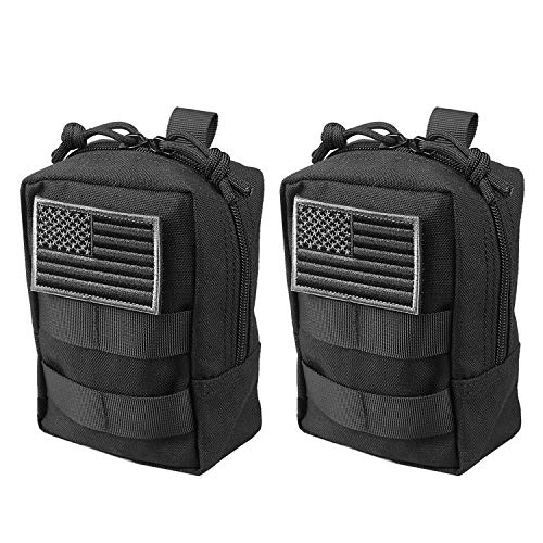 AMYIPO MOLLE Pouch Multi-Purpose Compact Tactical Waist Bags Small Utility Pouch (Black Small Pouch -(2 PCS)) ()