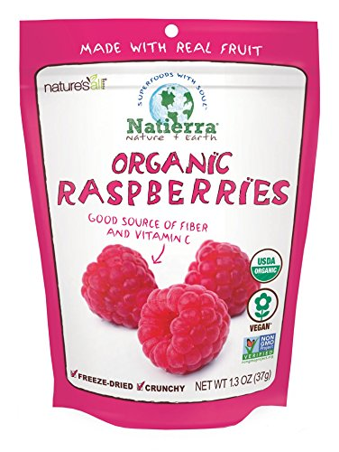 - Natierra Nature's All Foods Organic Freeze-Dried and Crunchy, Raspberries Flavor, 1.3 Oz