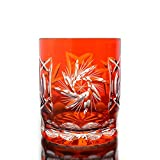 Whiskey glass ''Schleuderstern'' (280ml) orange, lead crystal, modern style, glass (CRISTALICA KINGDOM powered by CRISTALICA)