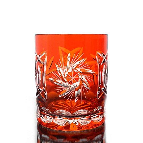 Whiskey glass ''Schleuderstern'' (280ml) orange, lead crystal, modern style, glass (CRISTALICA KINGDOM powered by CRISTALICA)