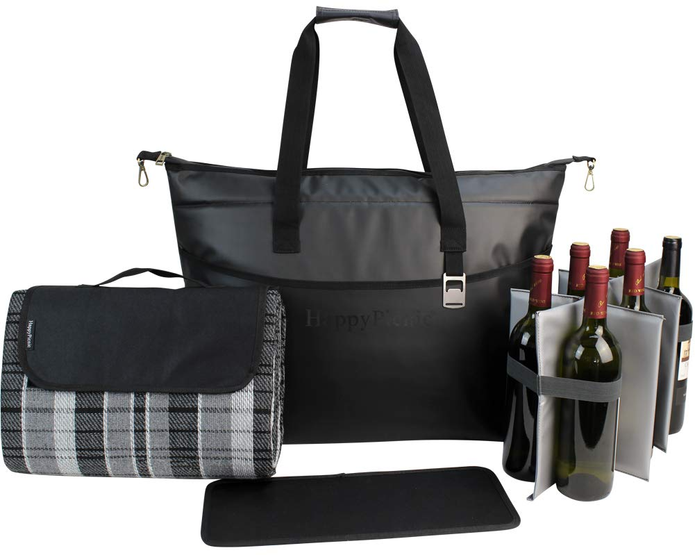 Large Insulated Tote Bag 40 Cans, Picnic Bag, Tote Cooler with Large Picnic Blanket, Waterproof Wine Cooler, Shopping Insulated Bag, Black