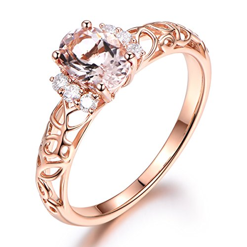 (Pink Morganite Engagement Ring,Solid 14K Rose Gold Band,Diamond Wedding Band,5x7mm Oval Cut Stone)