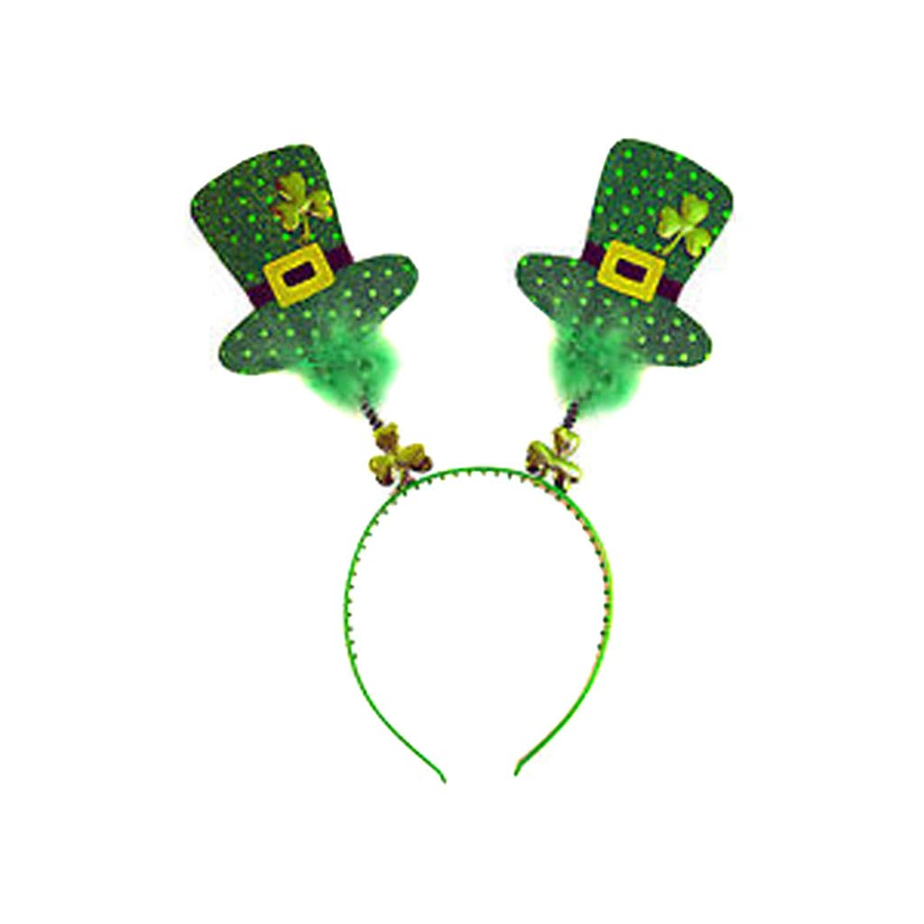 St.Patrick's Day Green Head Bopper Lucky Clover Handband Shamrock Hat Hair Hoop Headpiece Decorations Accessories for Adult (B)