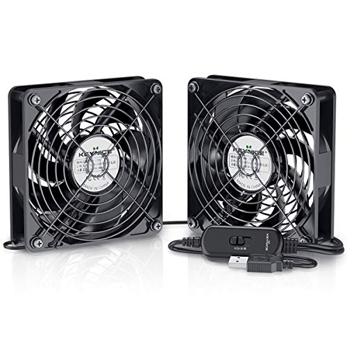 Dual 120mm USB Fan with 3 Speed Controller, KEYNICE DC 5V Powered Desk Fan for AV Receiver DVR Playstation TV Box Computer Cabinet Cooling