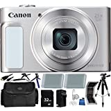 Canon PowerShot SX620 HS Digital Camera (Silver) - International Version (No Warranty) 32GB 18PC Accessory Kit Which Includes Two Replacement NB-13L Batteries, 5 Piece Camera Cleaning Kit, MORE