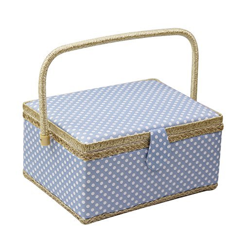 D&D Sewing Basket Organizer, Wooden Sewing Box with Sewing Kit Accessories/Insert Tray/Handle/Built-in Pincushion & Interior Pocket - Blue Polka Dot - Large by D&D