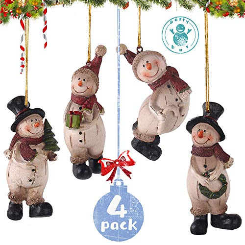 PartyBus Resin Snowman Christmas Tree Hanging Ornaments, Country Style Xmas Home Decorations, Rustic Keepsake Figurine Gifts for Family Coworkers Friends, 4 Pack