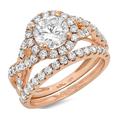 (2.34ct Round Cut Halo Split Shank Solitaire with Accent VVS1 Ideal D Moissanite & Simulated Diamond Engagement Promise Designer Anniversary Wedding Bridal ring band set 14k Rose Gold Sz 4.5 )