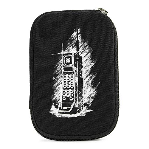 Portable Slim Sleeve Case Protector for E-Cig Vaporizer & Accessories + Removable Hand Strap |Ice Black Retro Brick Cellphone Print [Sleeve CASE ONLY]