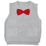 Toddler Baby Boy's Girls Cable Knit Vest Cotton Bow Pullover Sweater (18-24 Months, Grey)