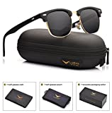 LUENX Women Clubmaster Polarized Sunglasses UV 400 Protection Black Lens Retro Classic Frame 51MM