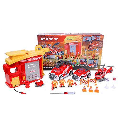 Police Station Playset,PUQU Future City Protector Police Deluxe Playset Creativity Learning Educational Toy