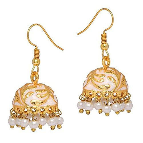 ipur Meenakari Gold-Plated Hand Painted Jhumki Earrings for Women and Girls (White) ()