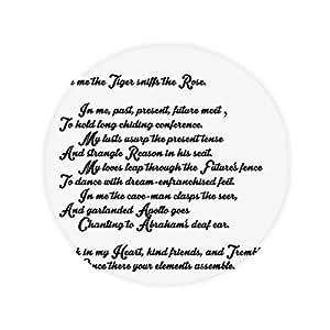 Poesía Quote tigre Sniff la rosa antideslizante alfombra Pet redonda baño salón cocina puerta 60/50cm regalo