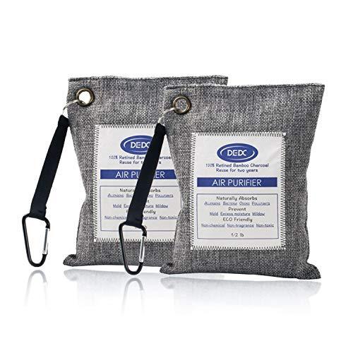 DEDC Air Purifying Bag Mini Bamboo Charcoal Bags Natural Air Purifier, Shoe Deodorizer Odor Eliminator (grey)