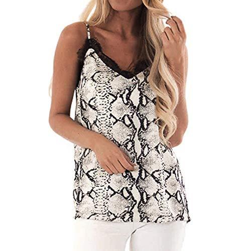 Aniywn Women Sexy Serpentine Print Sleeveless Vest Lace V-Neck Spaghetti Strap Camisole T-Shirt Tops ()