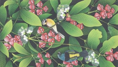 Oil painting 'Birds in the Flowering Shrubs' printing on Perfect effect Canvas , 24x42 inch / 61x107 cm ,the best Living Room artwork and Home decoration and Gifts is this High Resolution Art Decorative Prints on Canvas