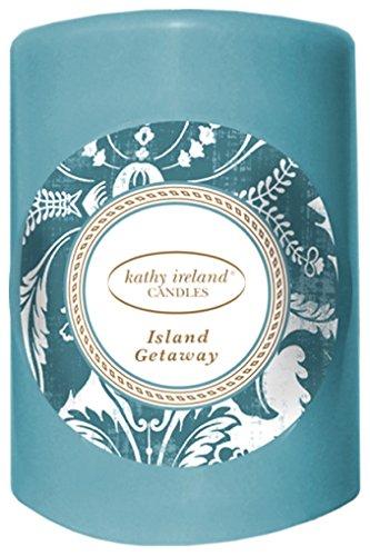 Blue Fragranced Pillar Candles - Kathy Ireland Candles Pillar Candle, Small, Island Getaway