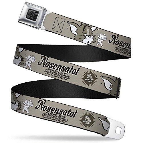 Buckle-Down Seatbelt Belt - Tom & Jerry NOSENATOL THE MENTAL LAXATIVE Grays/White/Black - 1.5