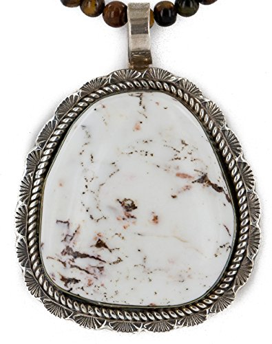 .925 Sterling Silver Handmade Certified Authentic Navajo Natural White Buffalo Turquoise Turquoise Tigers Eye Native American Necklace