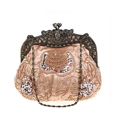 Flada damas y mujeres Vintage lentejuelas bolso hecho a mano con cuentas noche embragues baile fiesta de la boda de vino rojo Champán
