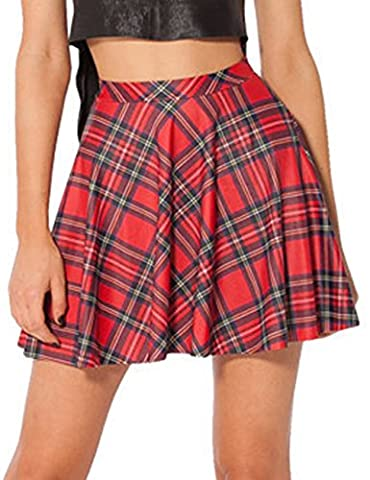 Asher Fashion Womens Summer Plus Size Stretchy Plaid Print Pleated Mini Skirts(XL, Red) - Pleated Plaid Mini