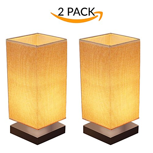 Cheap  2-Pack Modern Wooden Lamp With Fabric Shade For Bedroom, Living Room, Dresser,..