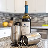 Set of Two 16 Oz Stainless Steel Stemless Wine Glasses with Fitting Cap - Unbreakable Double Walled Design Keeps Wine Cool, Dishwasher Safe and free from BPA