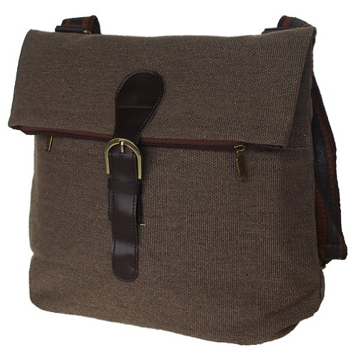 New Style Canvas 2-way Convertible Shoulder Bag and Backpack Brown, Outdoor Stuffs