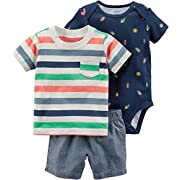 Carters Baby Boys 3-Piece Little Short Sets (Newborn, Navy Bugs)
