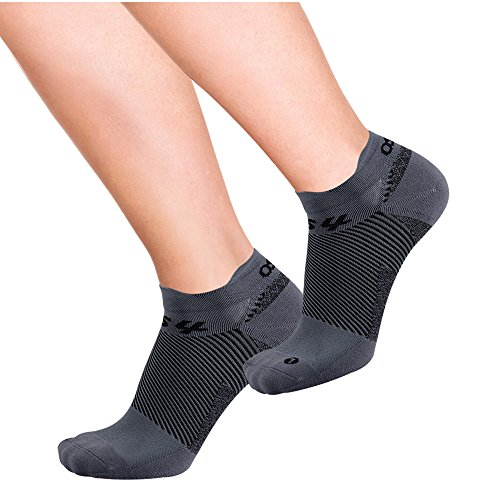 OrthoSleeve FS4 No-Show Orthotic Socks (Pair) for Plantar Fasciitis Relief, arch support and foot health featuring patented FS6 technology (Large, Dark Grey)
