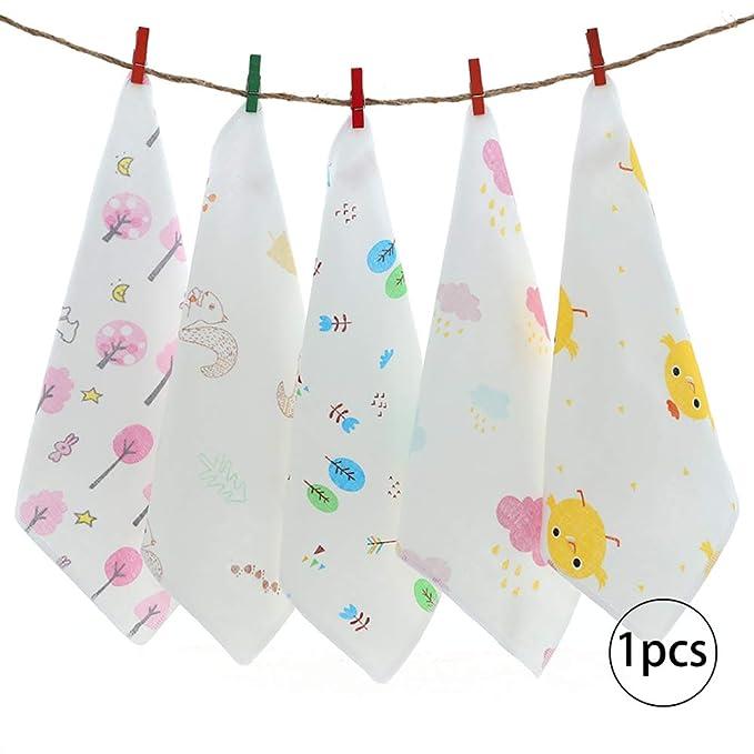 kakakooo Algodón pañuelo toallas de baño Toallitas de alimentación con la impresión del modelo Organics Estropajos