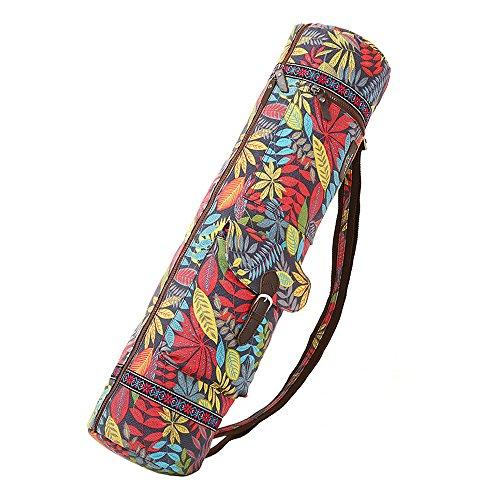 ZOOPOLR Yoga Mat Bag and Carrier, Yoga Mat Sling Bag, Canvas, Azo free dye fabric, Eco Friendly Printing, NO fading NO shrink after washing, Adjustable Strap, 2 Functional Pockets
