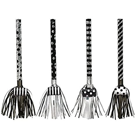 Black and White 17 1//2 8ct Amscan Black /& White Fringed Blowouts Party D/écor Black//White 17 1//2 330026